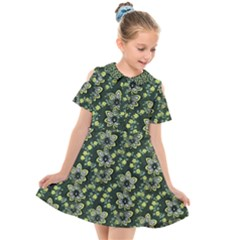 Abstract Pattern Flower Leaf Kids  Short Sleeve Shirt Dress by Pakrebo