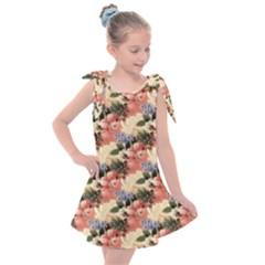 Flower Floral Decoration Pattern Kids  Tie Up Tunic Dress by Pakrebo