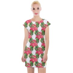 Floral Seamless Decorative Spring Cap Sleeve Bodycon Dress