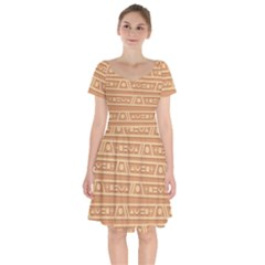 Background Non Seamless Pattern Brown Short Sleeve Bardot Dress