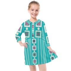 Non Seamless Pattern Background Blue Kids  Quarter Sleeve Shirt Dress by Pakrebo