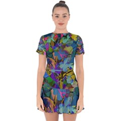 Flowers Abstract Branches Drop Hem Mini Chiffon Dress