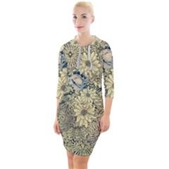 Abstract Art Artistic Botanical Quarter Sleeve Hood Bodycon Dress by Pakrebo