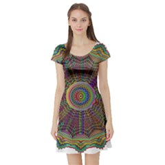 Mandala Decorative Ornamental Short Sleeve Skater Dress