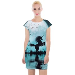 Wonderful Unicorn Silhouette In The Night Cap Sleeve Bodycon Dress by FantasyWorld7