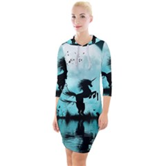 Wonderful Unicorn Silhouette In The Night Quarter Sleeve Hood Bodycon Dress by FantasyWorld7