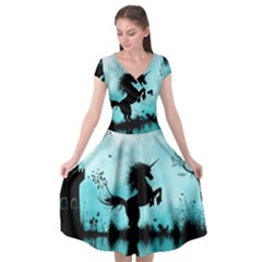 Wonderful Unicorn Silhouette In The Night Cap Sleeve Wrap Front Dress by FantasyWorld7