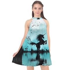 Wonderful Unicorn Silhouette In The Night Halter Neckline Chiffon Dress  by FantasyWorld7