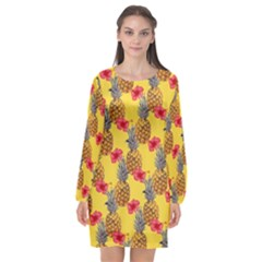 Tropical Pineapples  Long Sleeve Chiffon Shift Dress