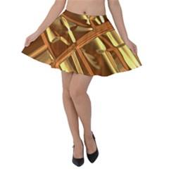 Gold Background Velvet Skater Skirt