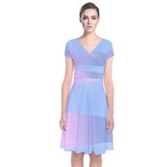 Gradient Waves Short Sleeve Front Wrap Dress by AnjaniArt