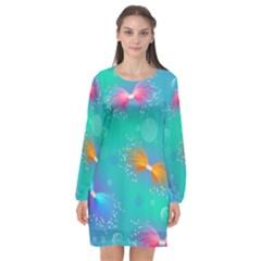 Non Seamless Pattern Blues Bright Long Sleeve Chiffon Shift Dress  by Jojostore