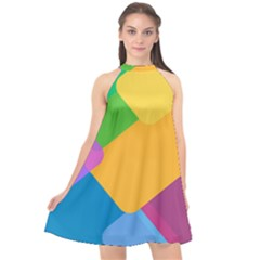 Geometry Nothing Color Halter Neckline Chiffon Dress