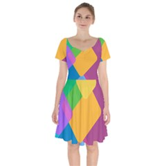 Geometry Nothing Color Short Sleeve Bardot Dress by Mariart
