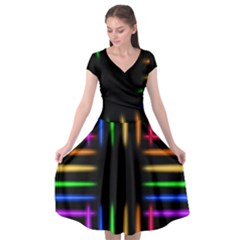 Neon Light Abstract Pattern Cap Sleeve Wrap Front Dress