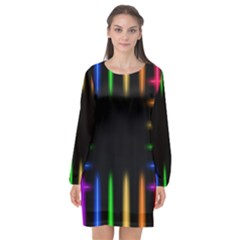 Neon Light Abstract Pattern Long Sleeve Chiffon Shift Dress  by Mariart