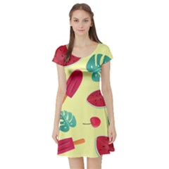 Watermelon Leaves Strawberry Short Sleeve Skater Dress