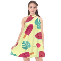 Watermelon Leaves Strawberry Halter Neckline Chiffon Dress