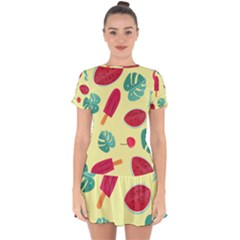 Watermelon Leaves Strawberry Drop Hem Mini Chiffon Dress