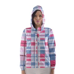 Fabric Textile Plaid Women s Hooded Windbreaker