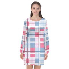 Fabric Textile Plaid Long Sleeve Chiffon Shift Dress