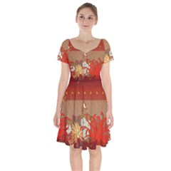 Abstract Flower Short Sleeve Bardot Dress