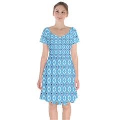 Blue Pattern Short Sleeve Bardot Dress by HermanTelo