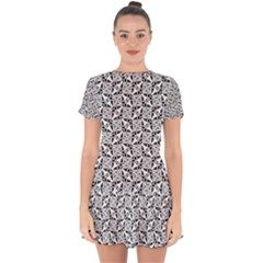 Ornamental Checkerboard Drop Hem Mini Chiffon Dress by HermanTelo