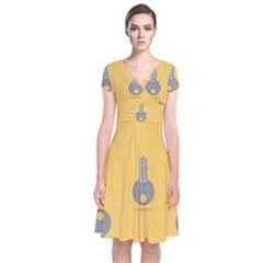 Key Short Sleeve Front Wrap Dress