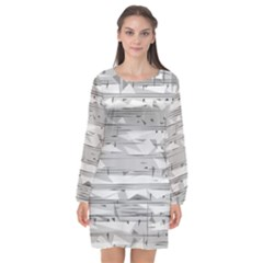 Confetti Music Art Modern Long Sleeve Chiffon Shift Dress