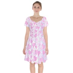 Valentine Background Hearts Short Sleeve Bardot Dress