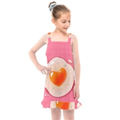 Omelette Heart Pink Valentine Kids  Overall Dress by Bajindul