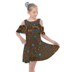 Fractal Abstract Kids  Shoulder Cutout Chiffon Dress by Bajindul