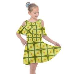 Background Pattern Gold Kids  Shoulder Cutout Chiffon Dress by Bajindul