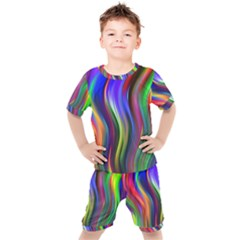 Lines Swinging Plasma Cross Kids  Tee And Shorts Set by Bajindul