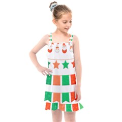 Christmas Bunting Banners Tasse Kids  Overall Dress by Bajindul