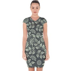 Flowers Pattern Spring Green Capsleeve Drawstring Dress  by Bajindul