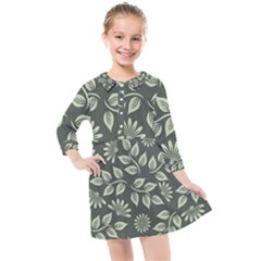 Flowers Pattern Spring Green Kids  Quarter Sleeve Shirt Dress by Bajindul
