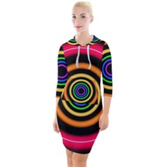 Neon Light Abstract Quarter Sleeve Hood Bodycon Dress by Bajindul