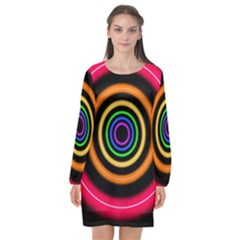 Neon Light Abstract Long Sleeve Chiffon Shift Dress