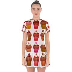 Chocolate Cake Muffin Drop Hem Mini Chiffon Dress