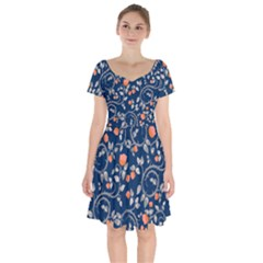 Midnight Florals Short Sleeve Bardot Dress by VeataAtticus
