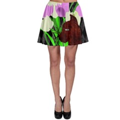 The Cat And The Tulips Skater Skirt by bloomingvinedesign