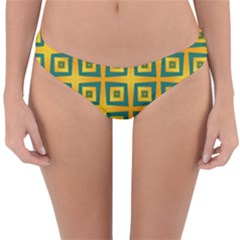 Green Plaid Star Gold Background Reversible Hipster Bikini Bottoms