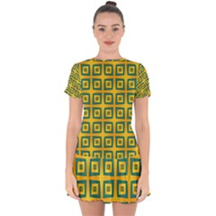 Green Plaid Star Gold Background Drop Hem Mini Chiffon Dress by Alisyart