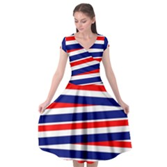 Patriotic Ribbons Cap Sleeve Wrap Front Dress by Mariart