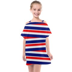 Patriotic Ribbons Kids  One Piece Chiffon Dress by Mariart