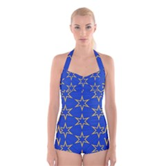 Star Pattern Blue Gold Boyleg Halter Swimsuit  by Jojostore