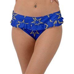 Star Pattern Blue Gold Frill Bikini Bottom by Jojostore