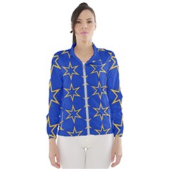 Star Pattern Blue Gold Women s Windbreaker by Jojostore